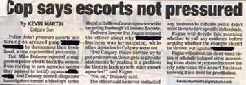 Cop says escort not pressured
