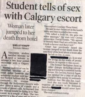 Student tells of sex with Calgary escort