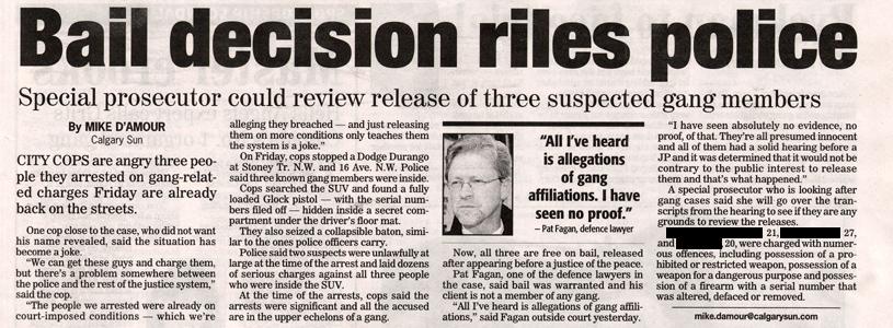 Bail Calgary: Bail decision riles police